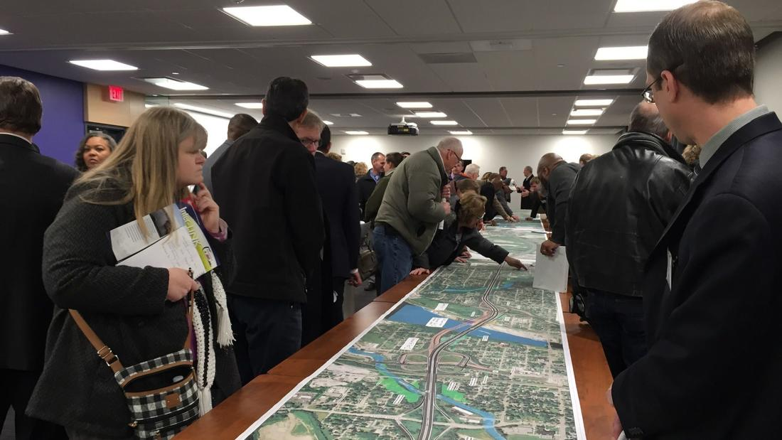 I-80 Coalition attendees viewing I80 map proposal